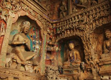 View of Buddhist carvings in one of the Yungang Grottoes