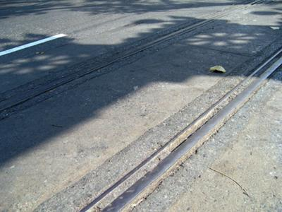 Tram car tracks in Charoen Krung Road
