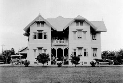 Picture 1 - The old house in Petchaburi Road. Note the two small trees in front of the house.