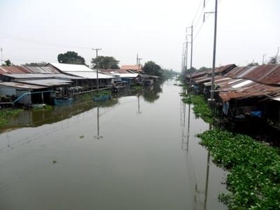 Prawet Burirom Canal with the Luang Phaeng Market<br> on both banks
