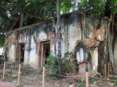 View of the crumbling ubosot